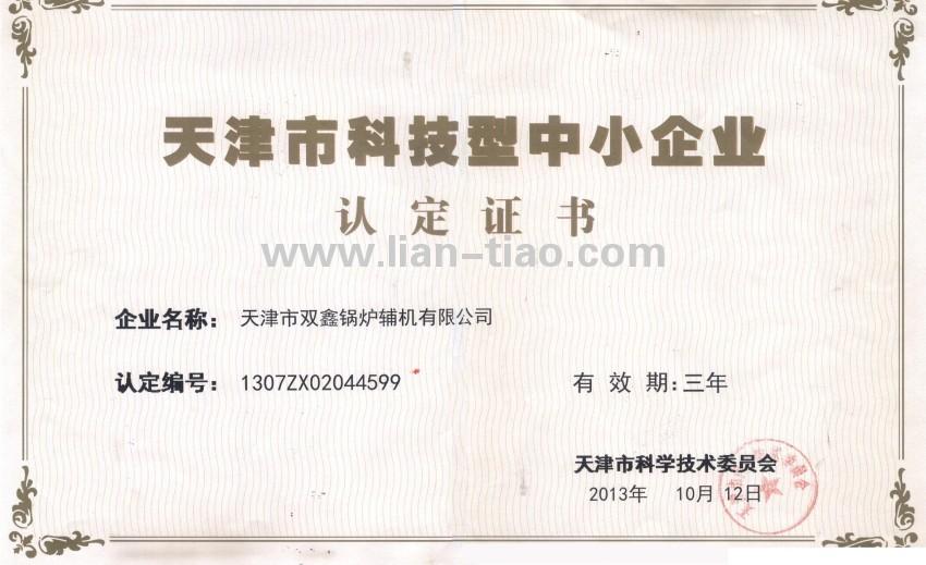 天津市科技型中小企业证书