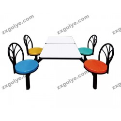 餐桌椅不锈钢玻璃钢连体快餐桌椅
